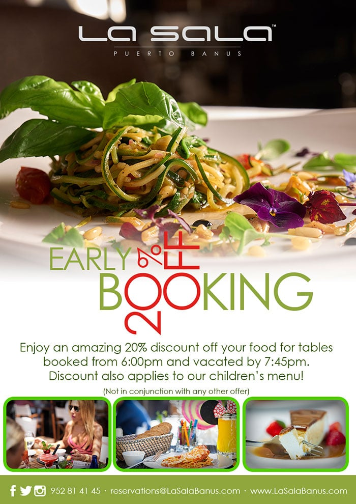Early Dining Discount at La Sala in Puerto Banus