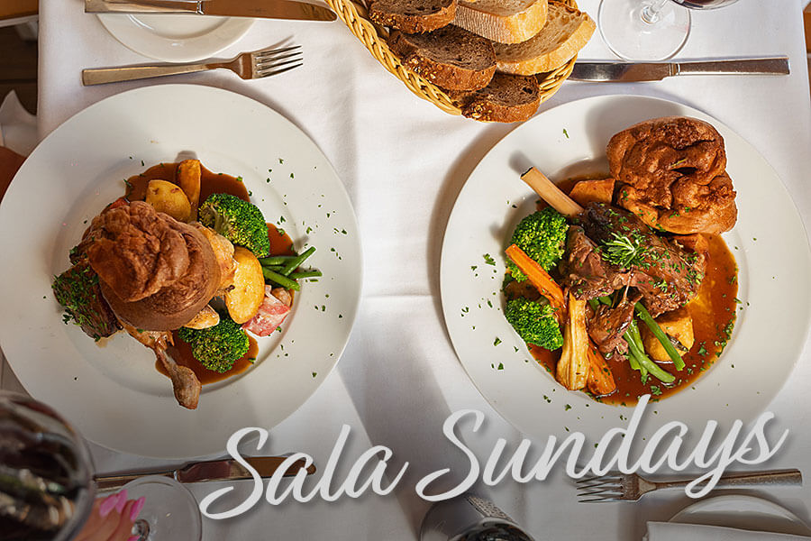 La Sala renowned 2 Course Sunday Roast Menu