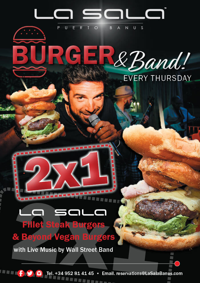 2 for 1 on burgers & band  every Thursday in Marbella