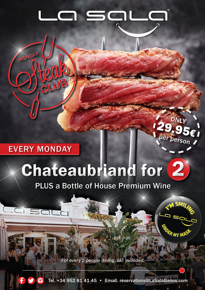 Monday steak night in Marbella at La Sala