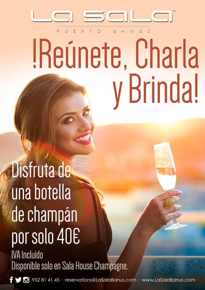 Champaña con amigos, fiesta en Marbella